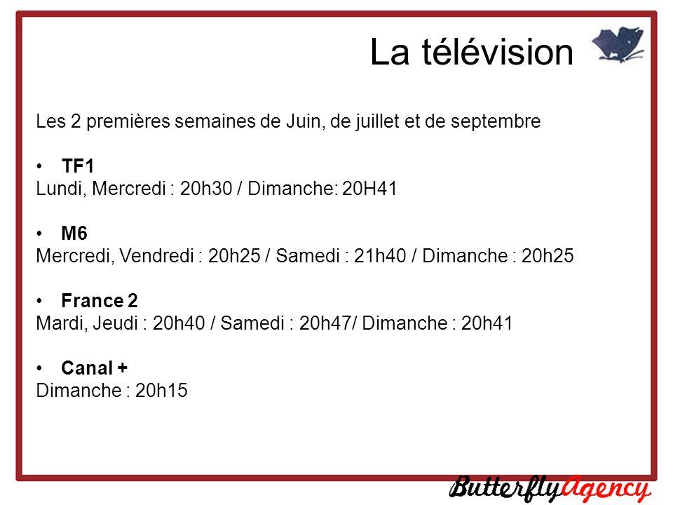 La télévision Les 2 premières semaines de Juin, de juillet et de septembre. TF1 Lundi, Mercredi : 20h30 / Dimanche: 20H41.