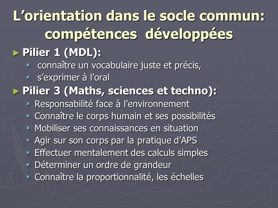 L'orientation dans le socle commun: compétences développées