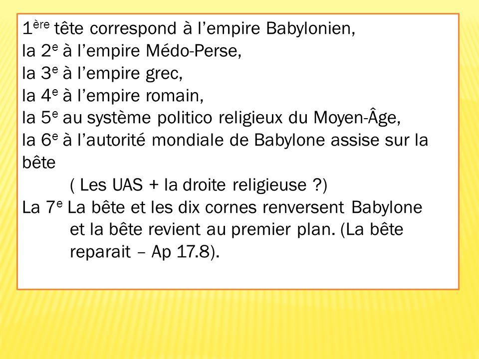 1ère tête correspond à l'empire Babylonien,