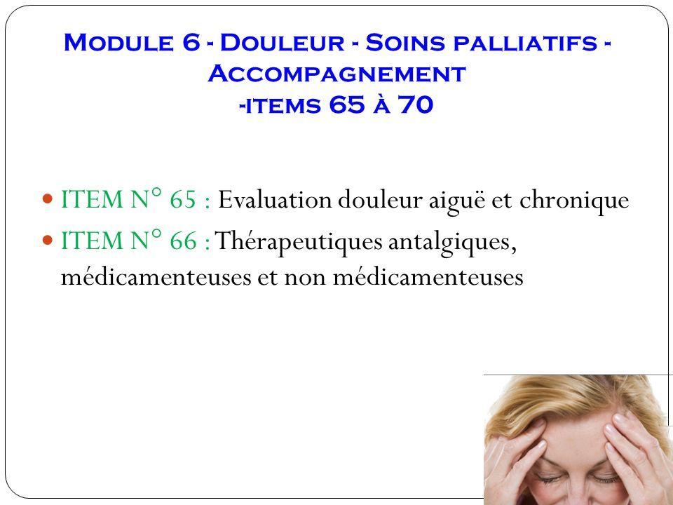 Module 6 - Douleur - Soins palliatifs -Accompagnement -items 65 à 70