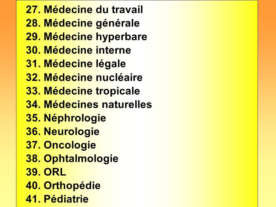 27. Médecine du travail 28. Médecine générale. 29. Médecine hyperbare. 30. Médecine interne. 31. Médecine légale.