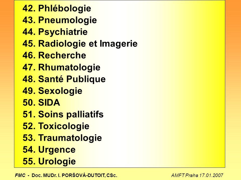 45. Radiologie et Imagerie 46. Recherche 47. Rhumatologie
