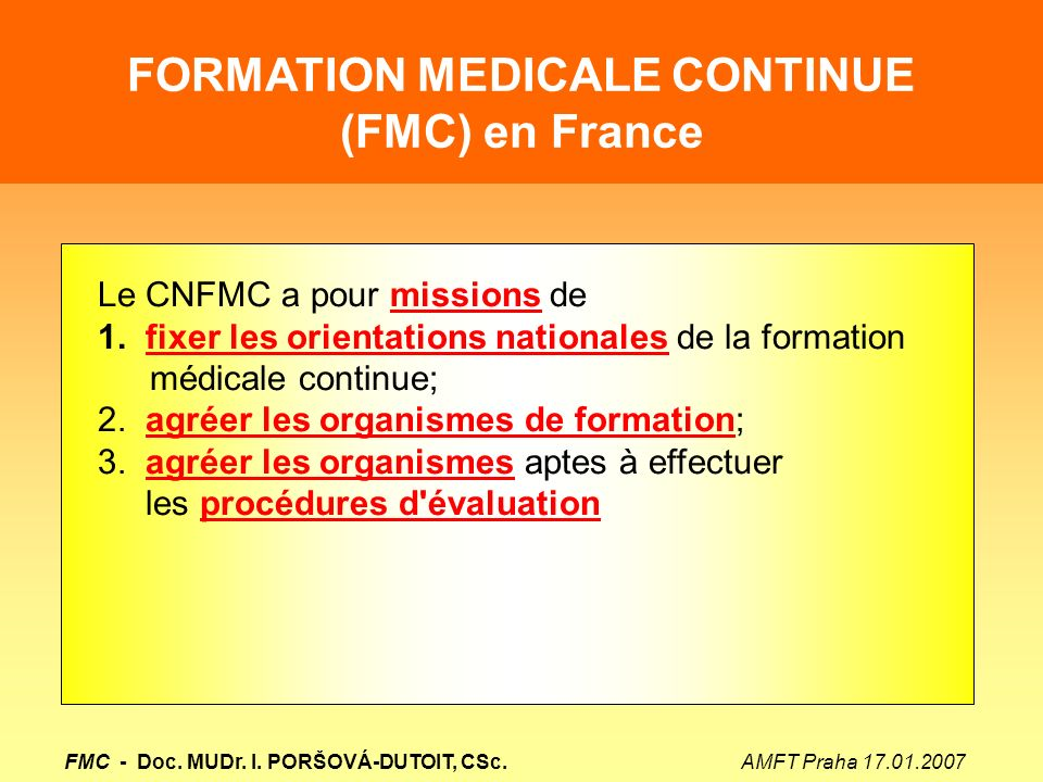 FORMATION MEDICALE CONTINUE