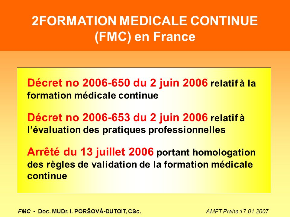 2FORMATION MEDICALE CONTINUE