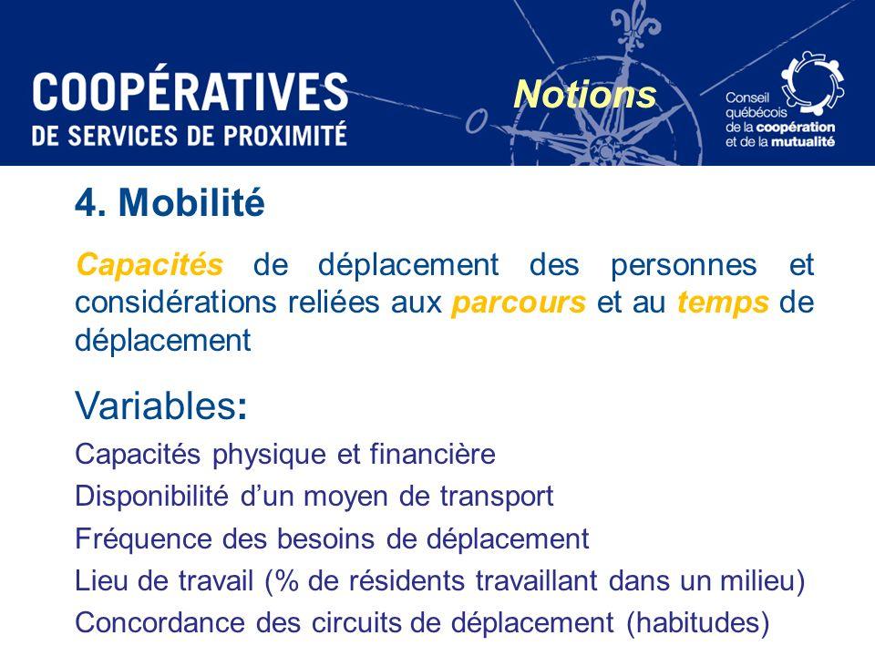 Notions 4. Mobilité Variables: