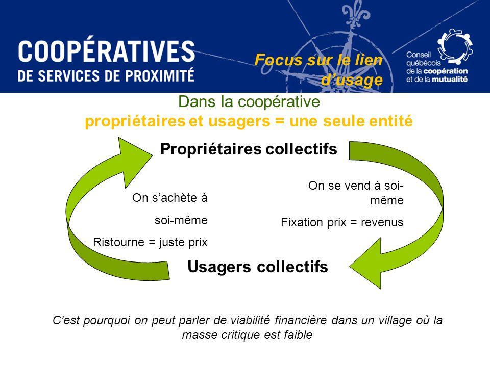 propriétaires et usagers = une seule entité Propriétaires collectifs