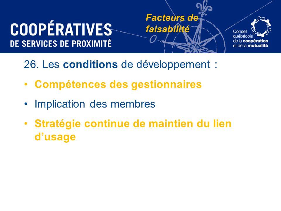 26. Les conditions de développement : Compétences des gestionnaires