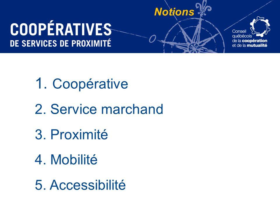 Notions Coopérative Service marchand Proximité Mobilité Accessibilité