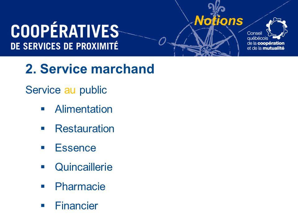 Notions 2. Service marchand Service au public Alimentation