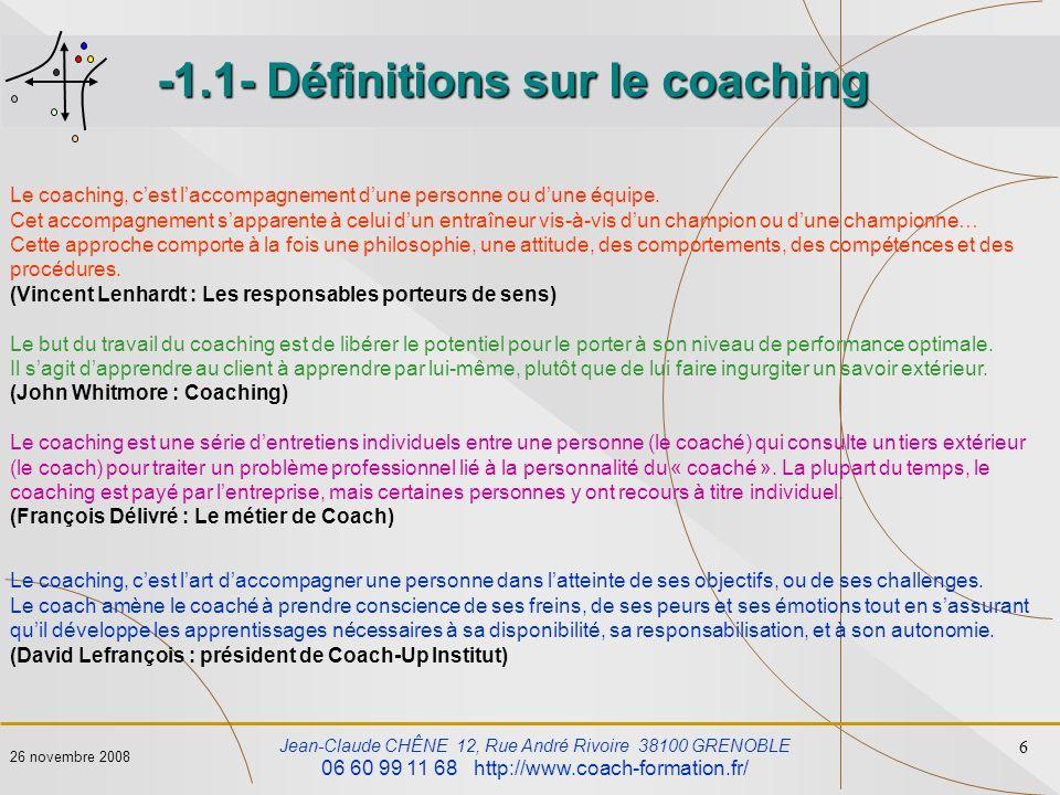 -1.1- Définitions sur le coaching