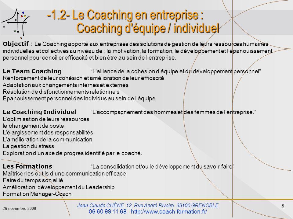 -1.2- Le Coaching en entreprise : Coaching d équipe / individuel