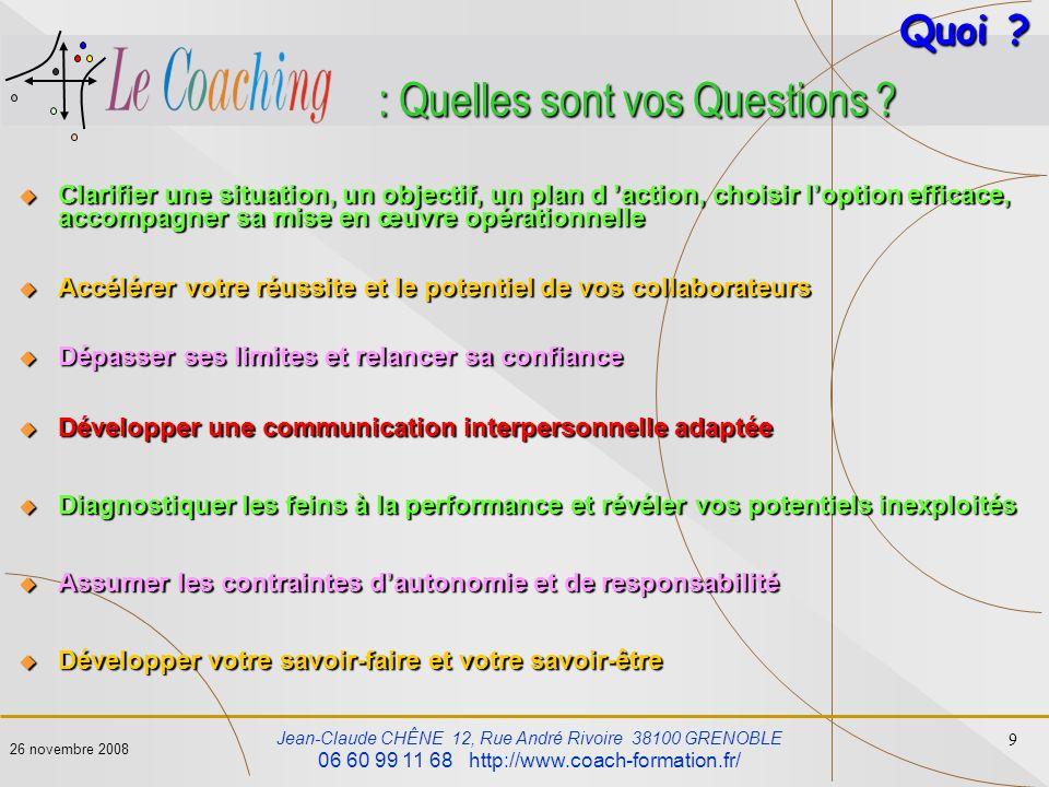 : Quelles sont vos Questions