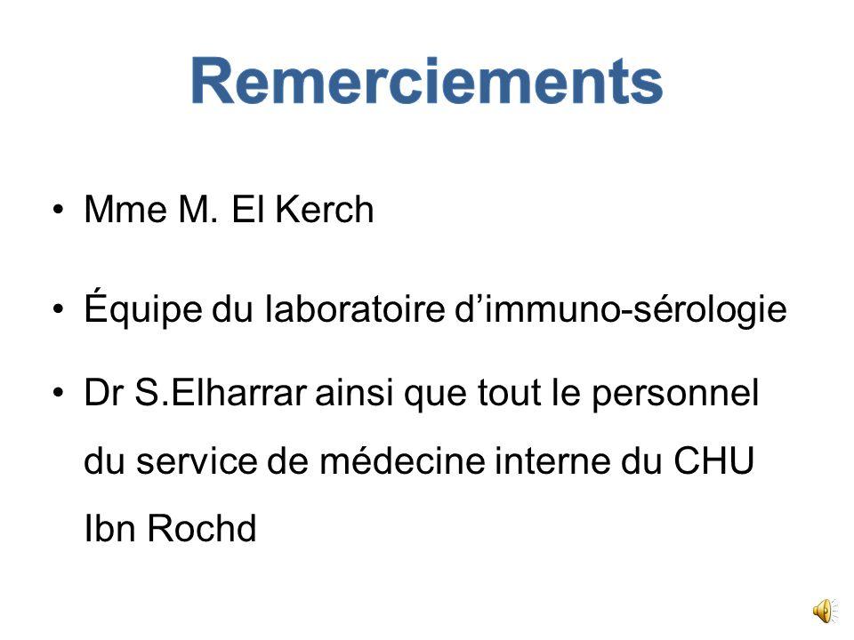 Remerciements Mme M. El Kerch Équipe du laboratoire d'immuno-sérologie