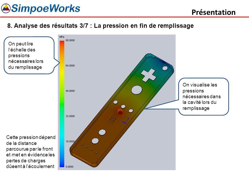Présentation 8. Analyse des résultats 3/7 : La pression en fin de remplissage. On peut lire l'échelle des pressions nécessaires lors du remplissage.