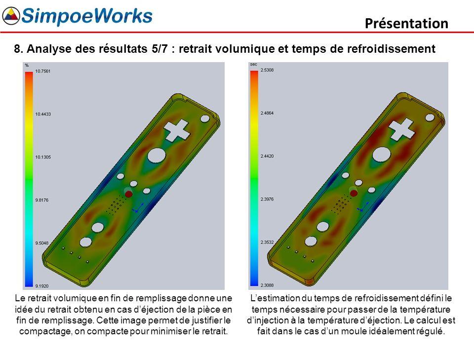 Présentation 8. Analyse des résultats 5/7 : retrait volumique et temps de refroidissement.