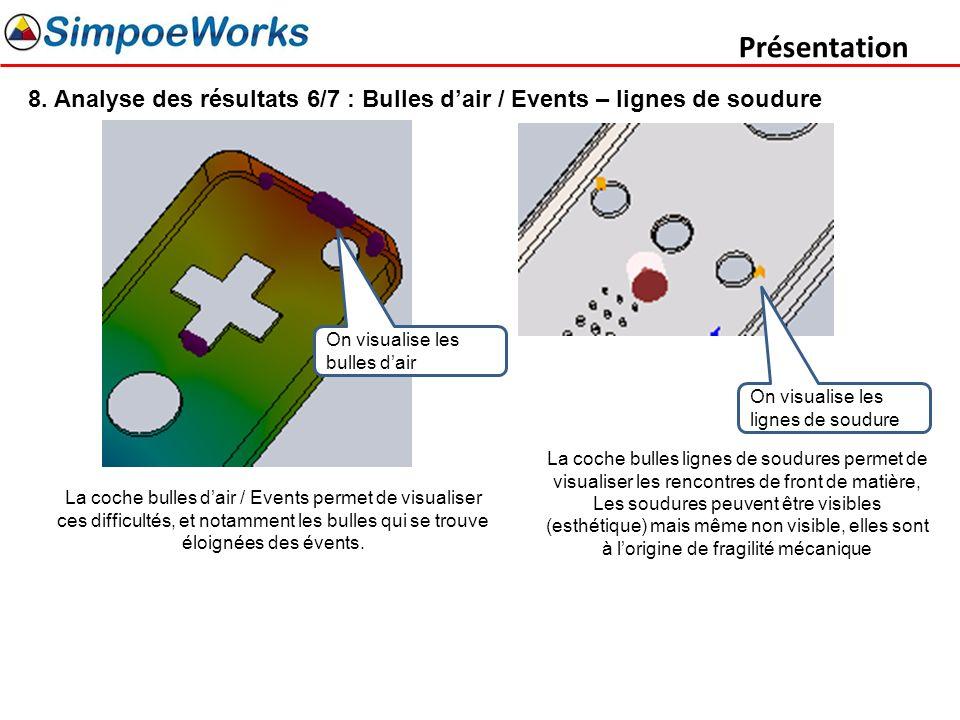 Présentation 8. Analyse des résultats 6/7 : Bulles d'air / Events – lignes de soudure. On visualise les bulles d'air.