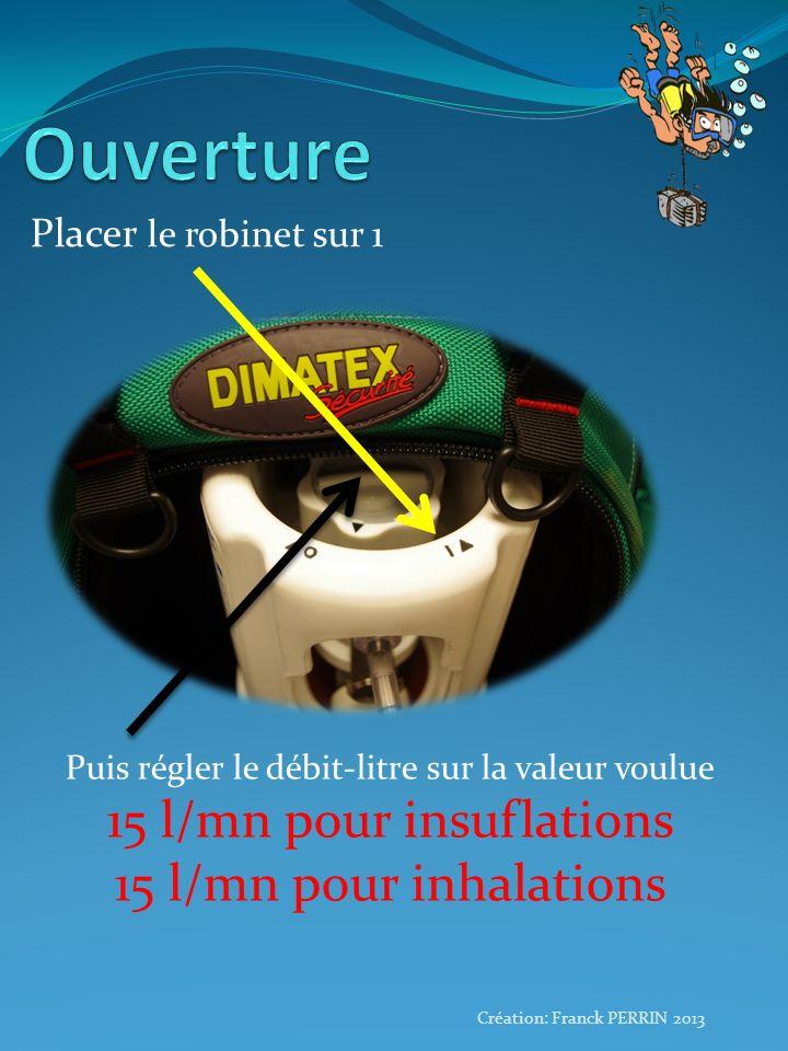 Ouverture 15 l/mn pour insuflations 15 l/mn pour inhalations