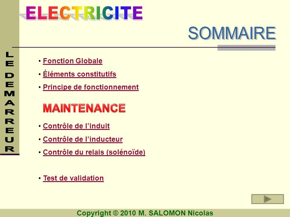 SOMMAIRE MAINTENANCE Fonction Globale Éléments constitutifs