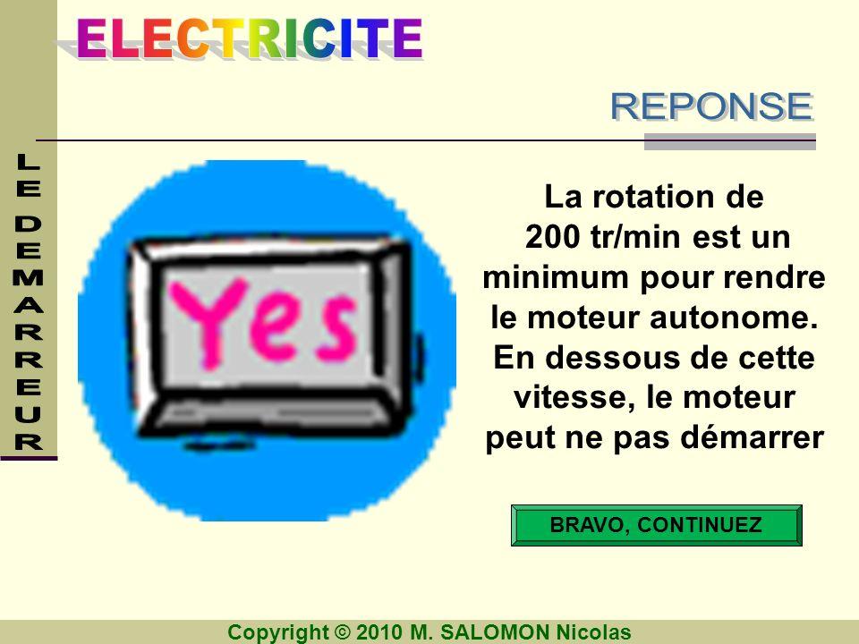 REPONSE La rotation de. 200 tr/min est un minimum pour rendre le moteur autonome. En dessous de cette vitesse, le moteur peut ne pas démarrer.
