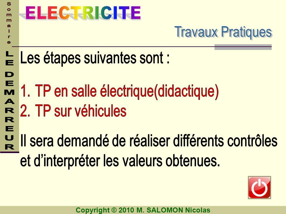 Les étapes suivantes sont : TP en salle électrique(didactique)