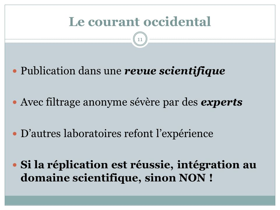 Le courant occidental Publication dans une revue scientifique