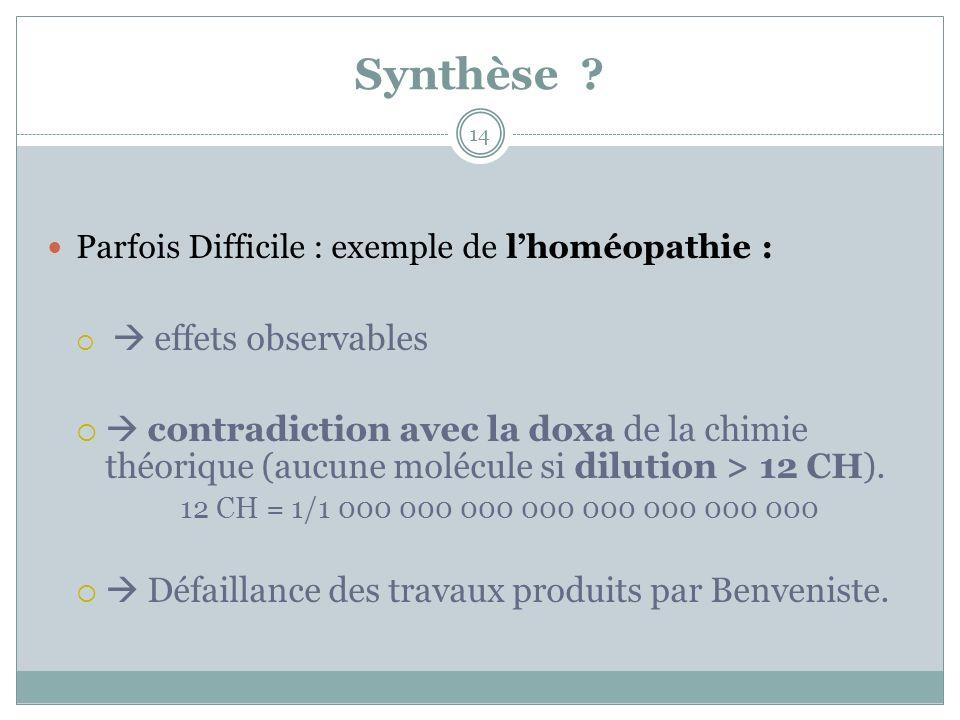 Synthèse Parfois Difficile : exemple de l'homéopathie :  effets observables.