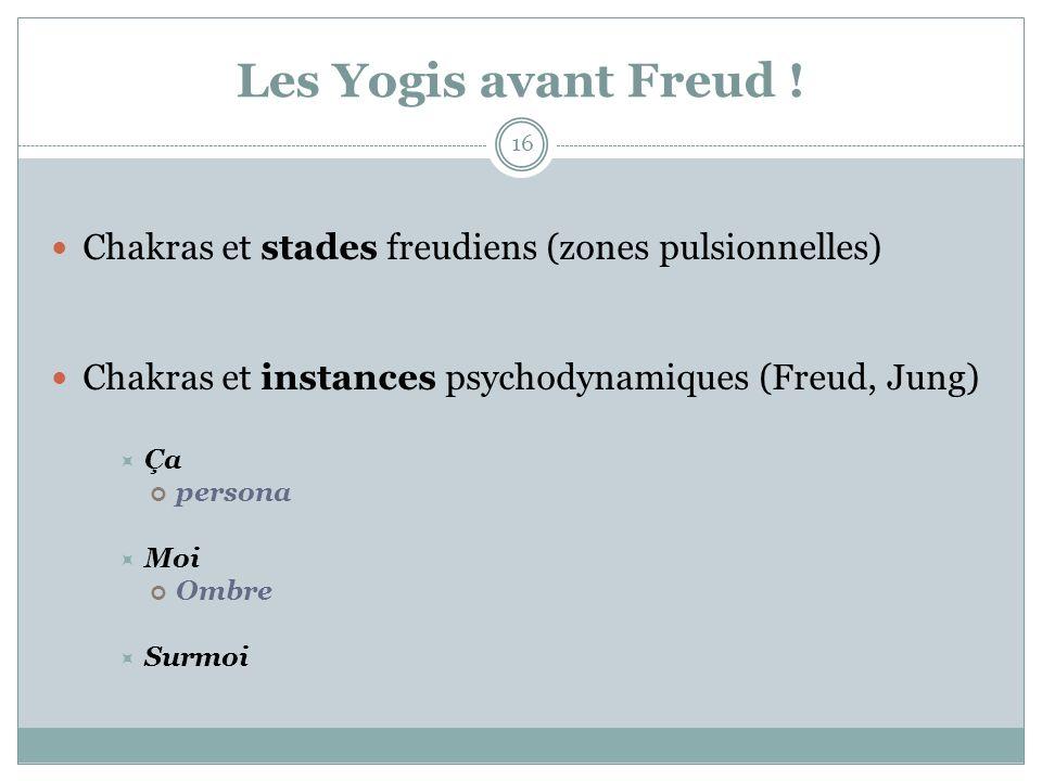 Les Yogis avant Freud ! Chakras et stades freudiens (zones pulsionnelles) Chakras et instances psychodynamiques (Freud, Jung)