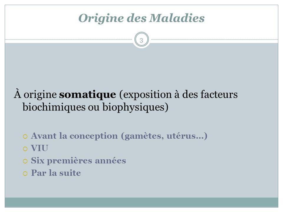 Origine des Maladies À origine somatique (exposition à des facteurs biochimiques ou biophysiques) Avant la conception (gamètes, utérus…)