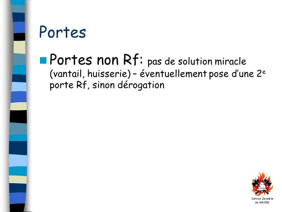 Portes Portes non Rf: pas de solution miracle (vantail, huisserie) – éventuellement pose d'une 2e porte Rf, sinon dérogation.