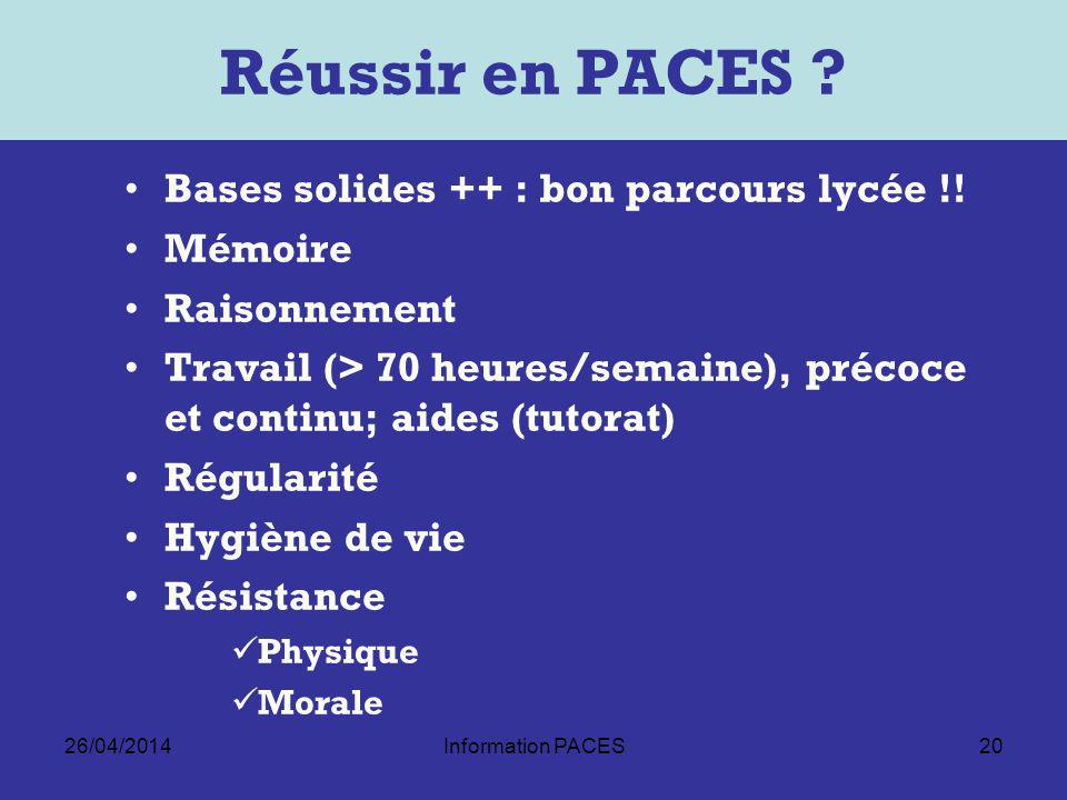 Réussir en PACES Bases solides ++ : bon parcours lycée !! Mémoire