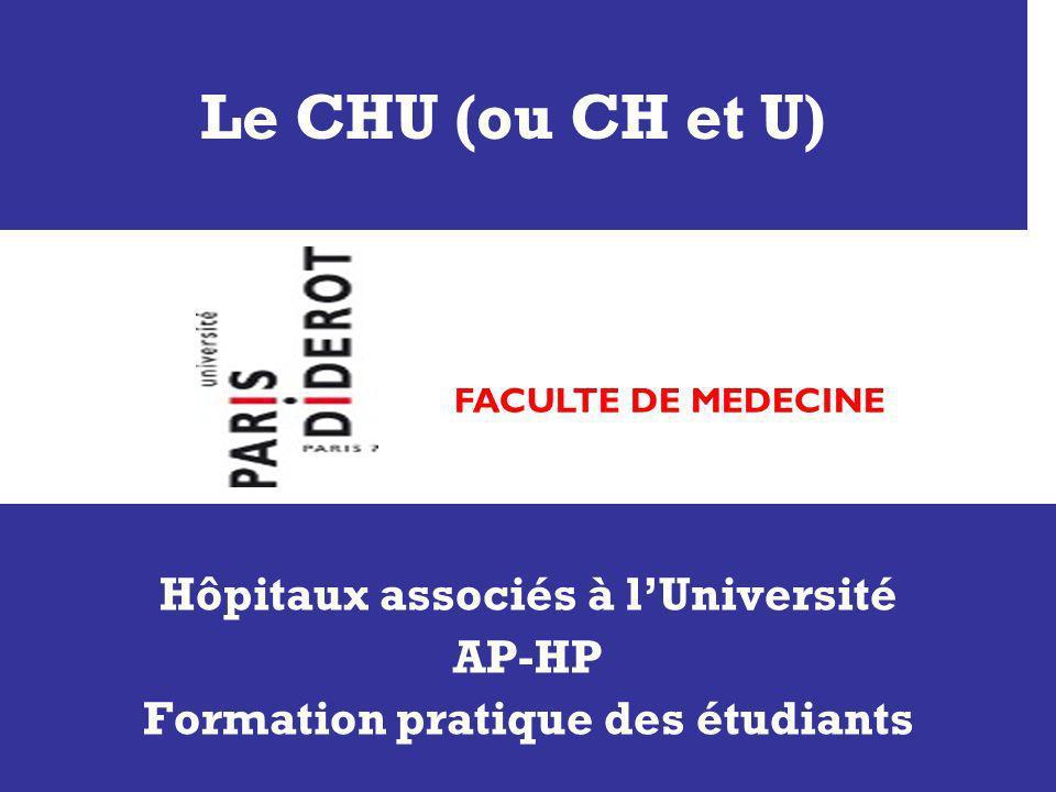 Hôpitaux associés à l'Université Formation pratique des étudiants