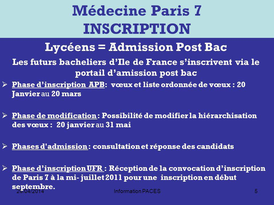 Médecine Paris 7 INSCRIPTION