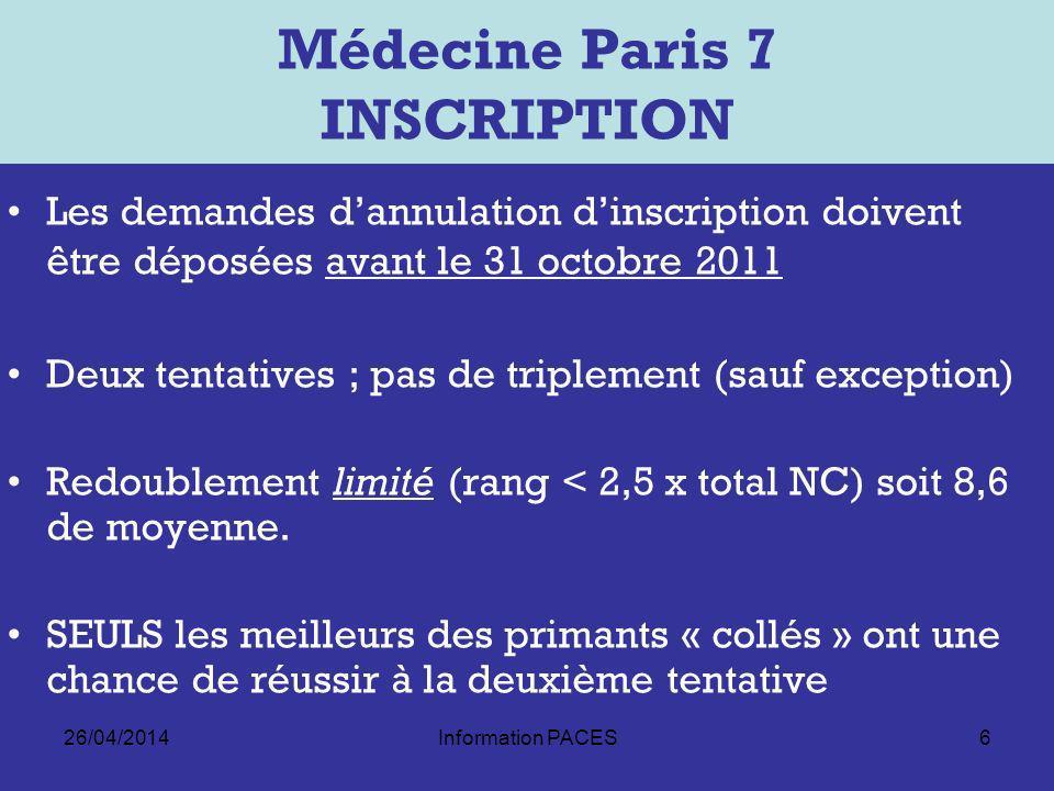 Médecine Paris 7 INSCRIPTION