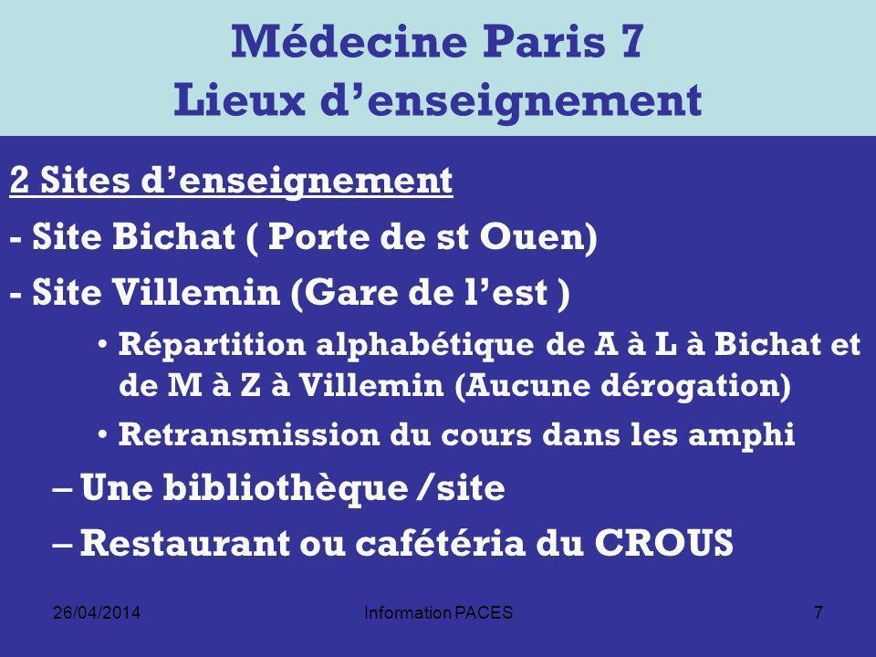 Médecine Paris 7 Lieux d'enseignement