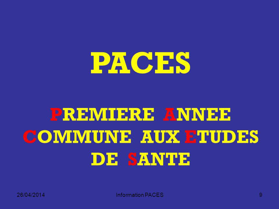 PREMIERE ANNEE COMMUNE AUX ETUDES DE SANTE