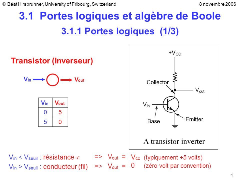 3.1 Portes logiques et algèbre de Boole
