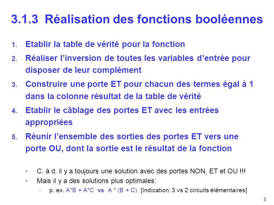 3.1.3 Réalisation des fonctions booléennes