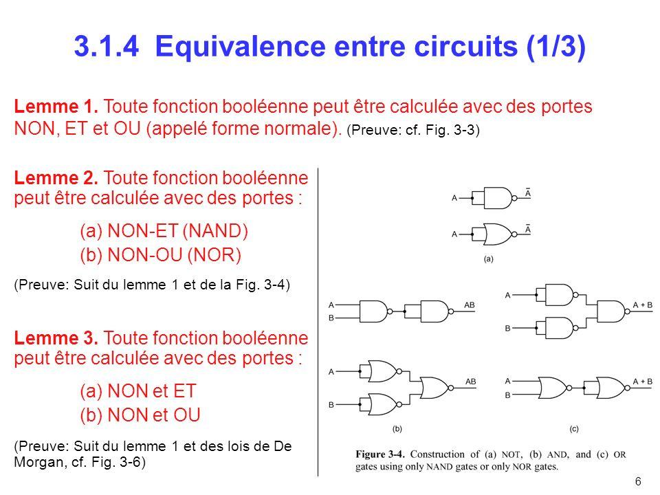 3.1.4 Equivalence entre circuits (1/3)