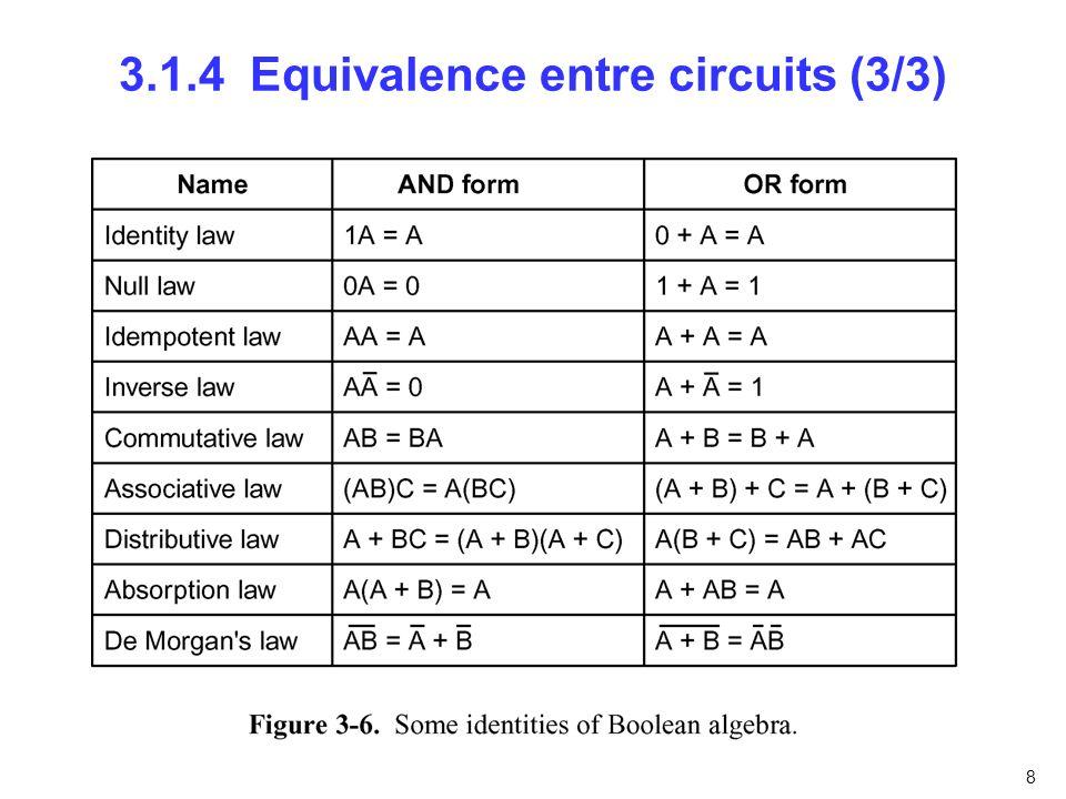 3.1.4 Equivalence entre circuits (3/3)