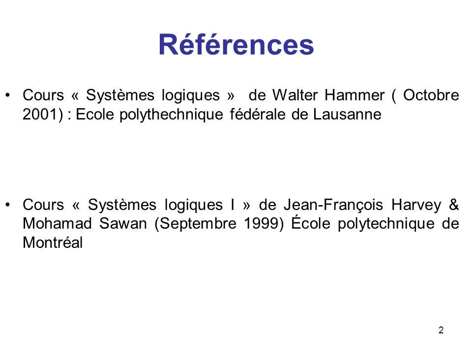 Références Cours « Systèmes logiques » de Walter Hammer ( Octobre 2001) : Ecole polythechnique fédérale de Lausanne.