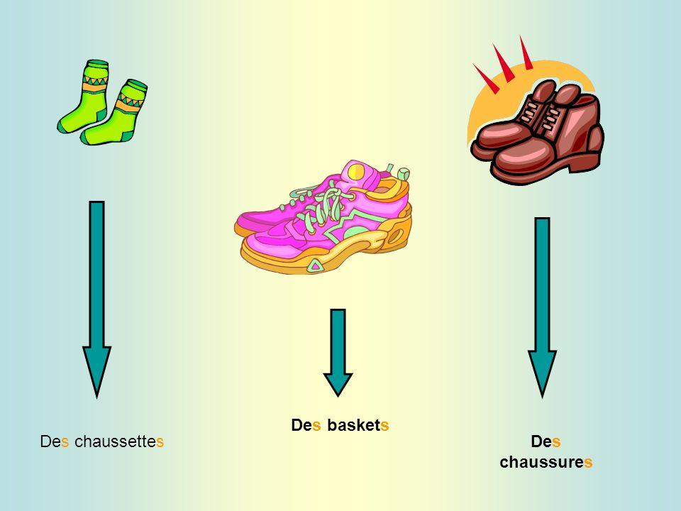 Des baskets Des chaussettes Des chaussures