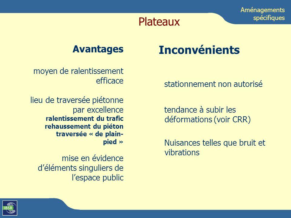 Plateaux Inconvénients Avantages moyen de ralentissement efficace