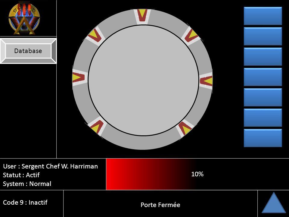 Database 10% User : Sergent Chef W. Harriman. Statut : Actif. System : Normal. Code 9 : Inactif.