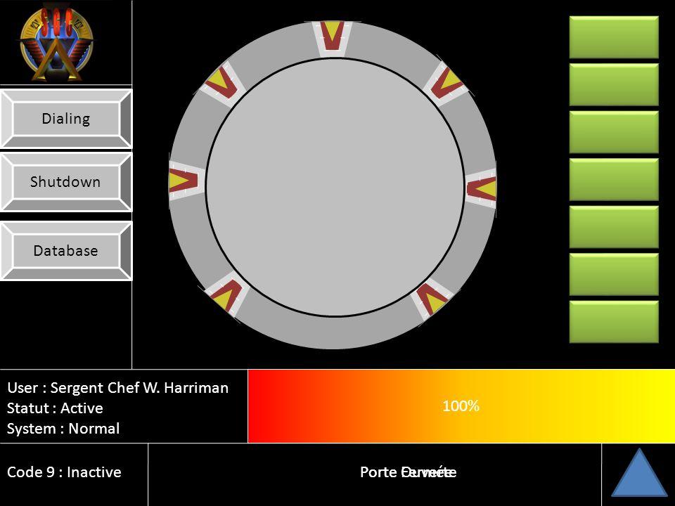 Dialing Shutdown. Database. 100% 10% User : Sergent Chef W. Harriman. Statut : Active. System : Normal.