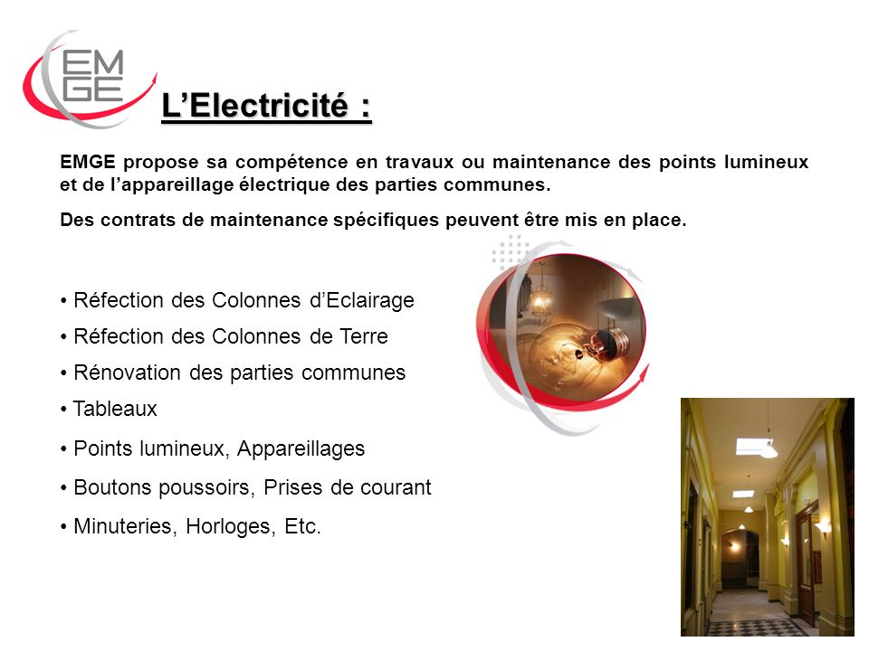 L'Electricité : Réfection des Colonnes d'Eclairage
