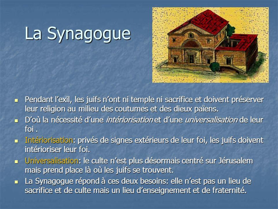 La Synagogue Pendant l'exil, les juifs n'ont ni temple ni sacrifice et doivent préserver leur religion au milieu des coutumes et des dieux païens.