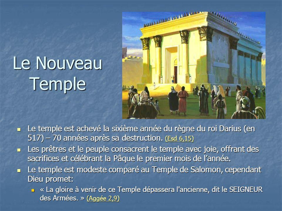 Le Nouveau Temple Le temple est achevé la sixième année du règne du roi Darius (en 517) – 70 années après sa destruction. (Esd 6,15)