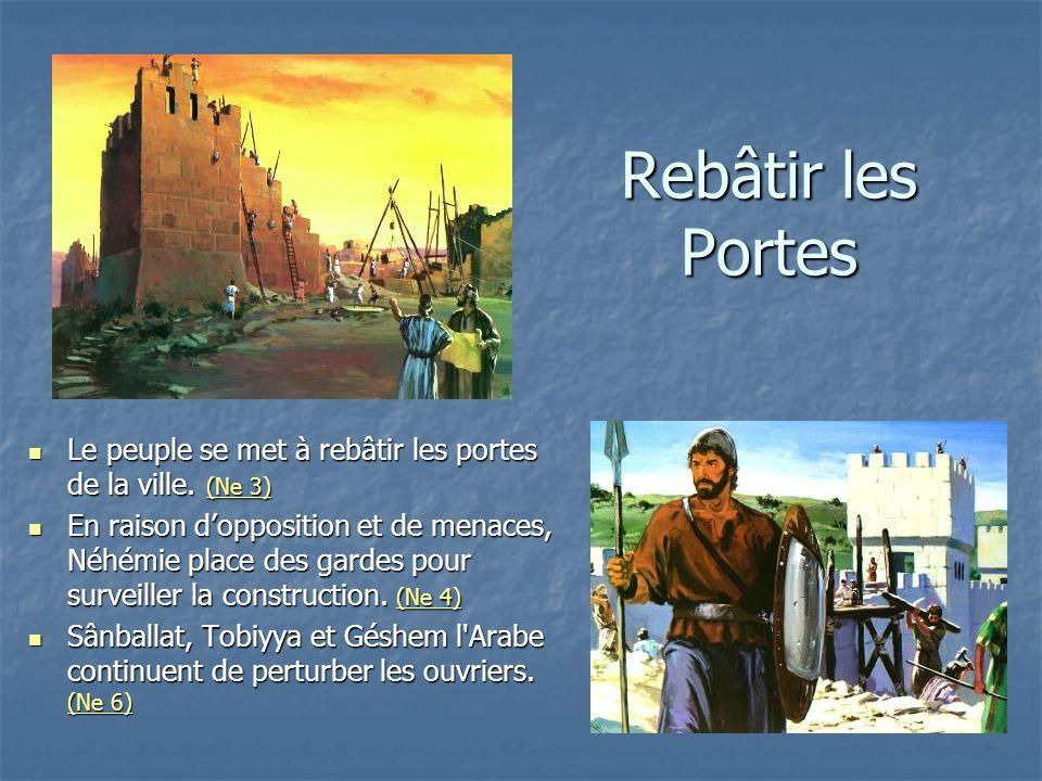 Rebâtir les Portes Le peuple se met à rebâtir les portes de la ville. (Ne 3)