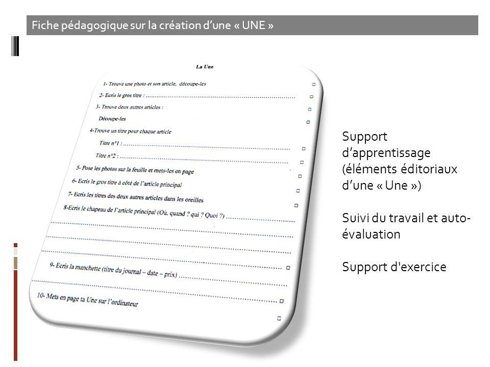 Support d'apprentissage (éléments éditoriaux d'une « Une »)