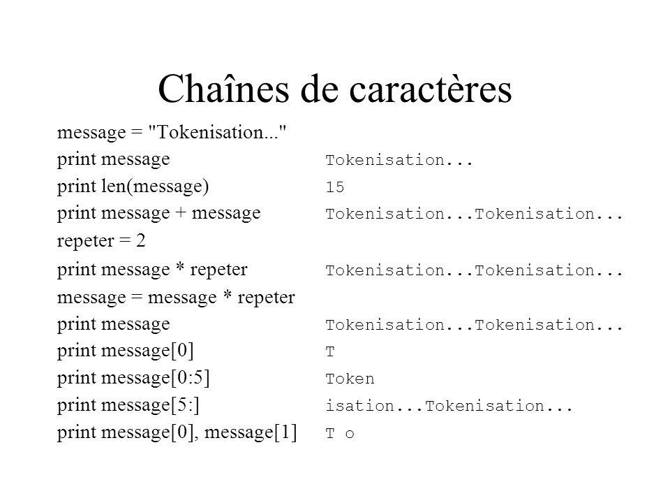 Chaînes de caractères message = Tokenisation...